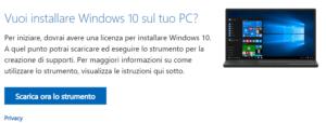 Scarica ora lo strumento come aggiornare Windows 10