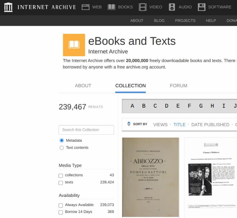 Scaricare eBook gratis da Archive.org
