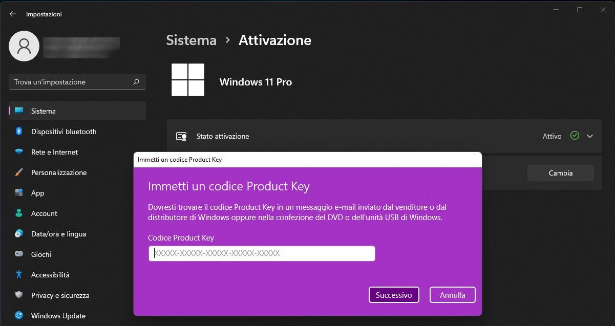 attivazione windows 11