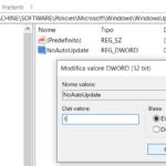 bloccare aggiornamenti Windows registro 3