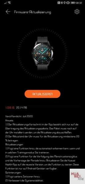 huawei watch gt 2 1.0.8.16 novità
