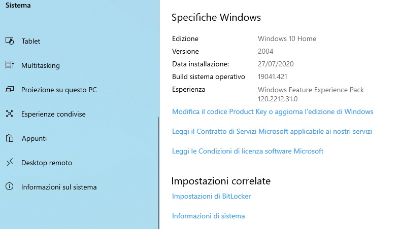 Windows 10 versione 2004