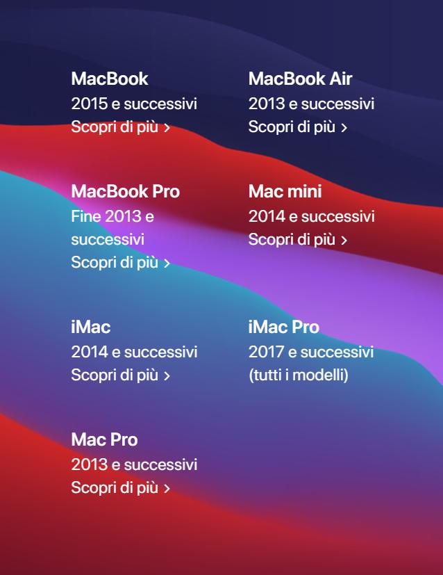 mac compatibili macos big sur