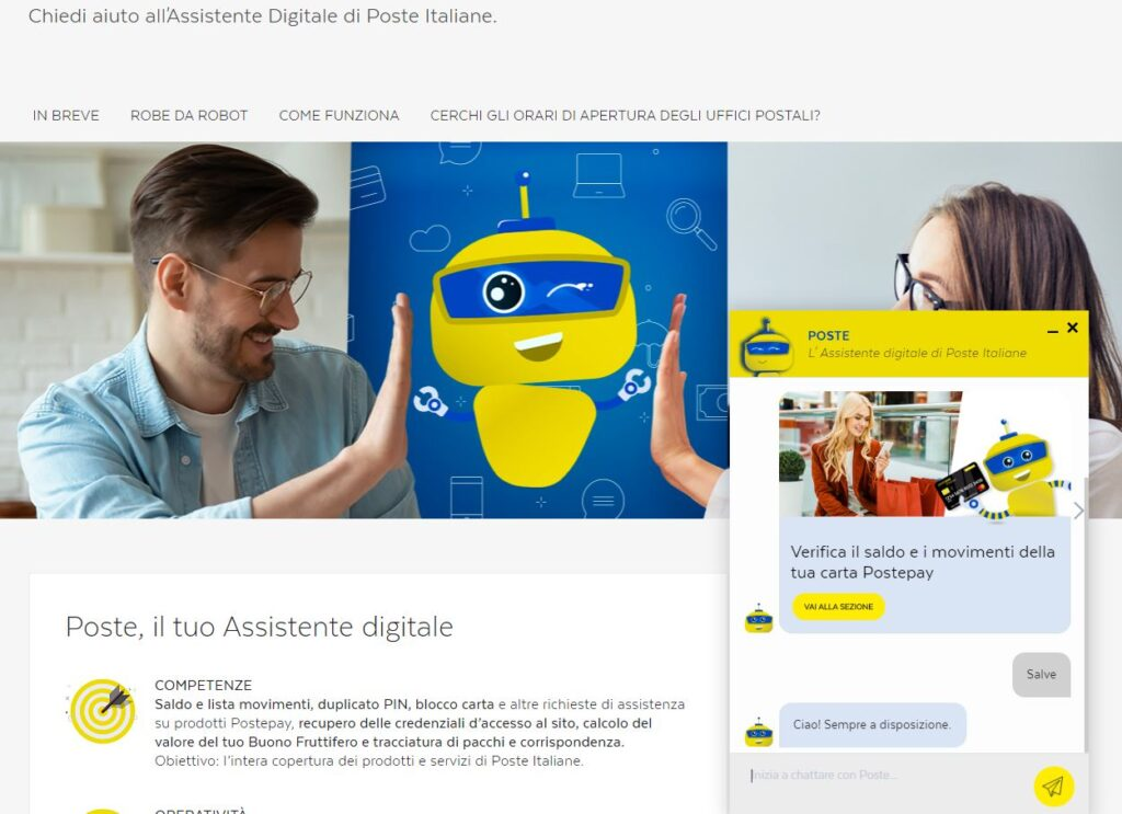 posteitaliane chatbot assistenza