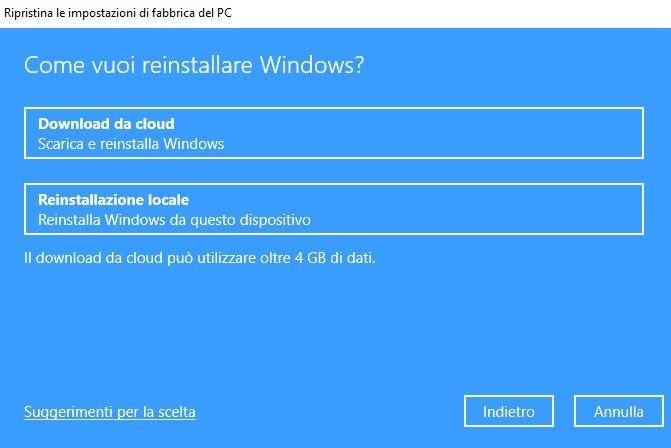 Ripristino Windows 10 con installazione Windows da cloud