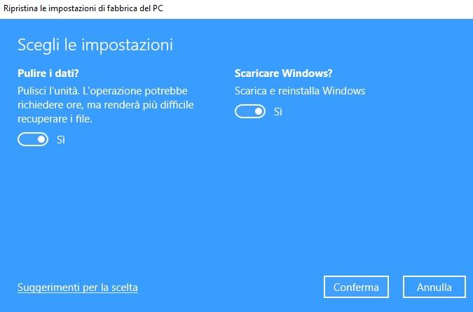 Ripristino Windows 10 con opzione Rimuovi tutto
