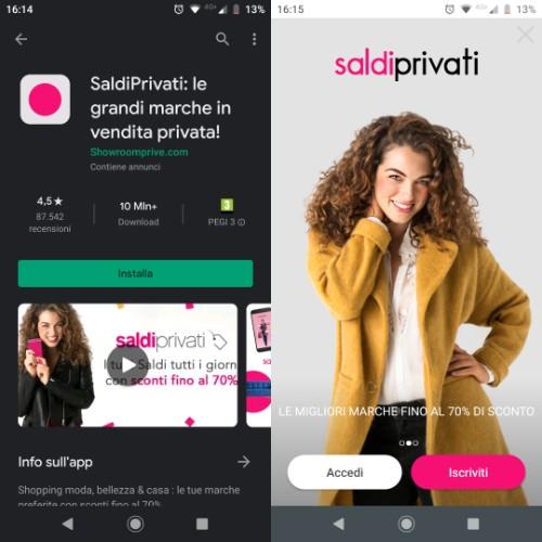 App Saldi Privati per Android