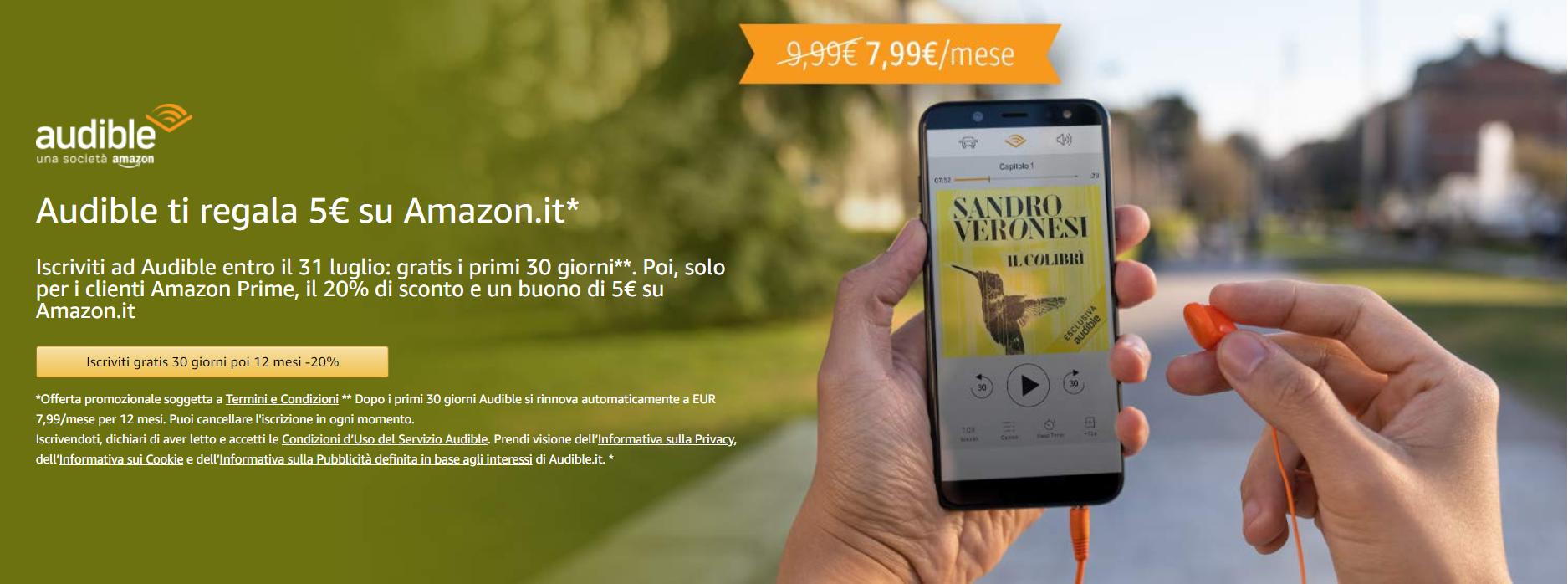 amazon audible promozione buono 5 euro sconto