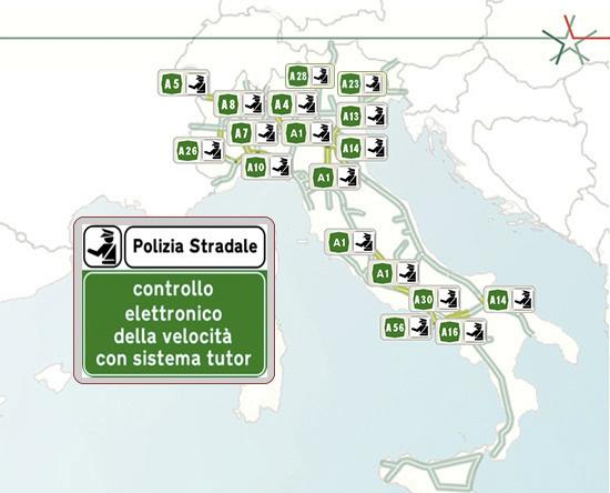mappa di posizionamento tutor autostrada 2020