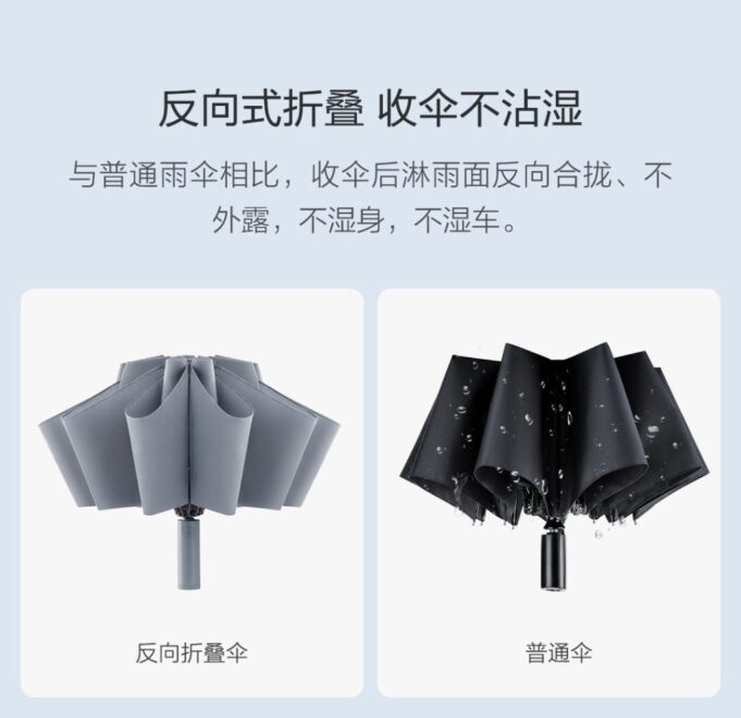 xiaomi 90 points automatic reverse folding umbrella ufficiale specifiche prezzo