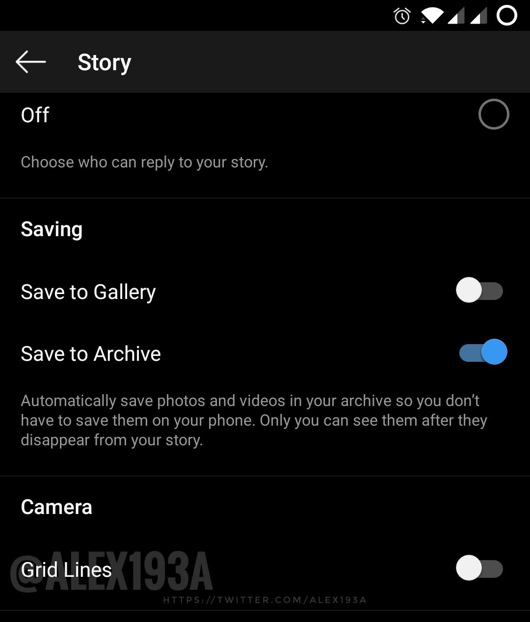 instagram storie griglia fotocamera