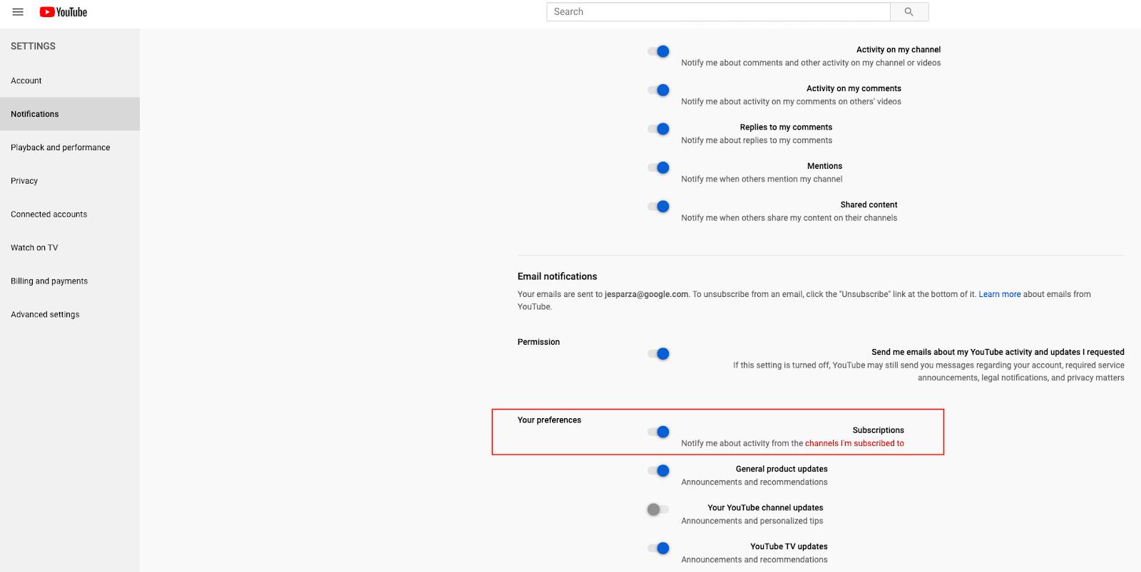 youtube gestione notifiche