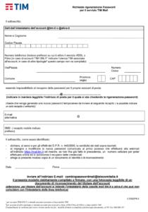 richiesta rigenerazione password alice Mail TIM