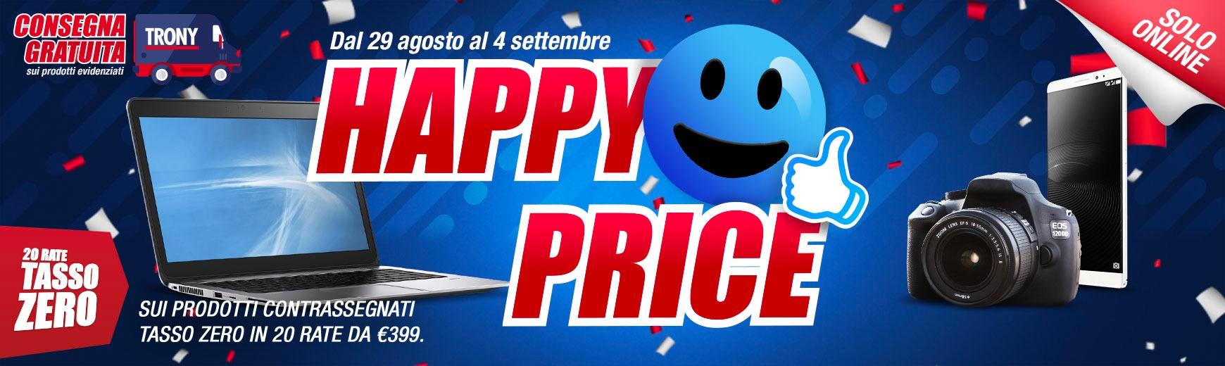 Happy Price è la nuova promozione online di Trony fino al 4 settembre 1