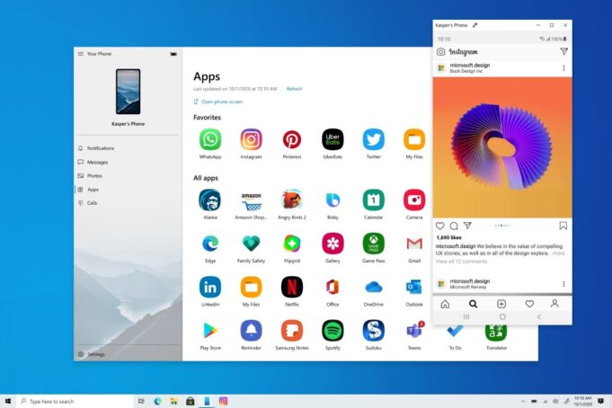 app android mirroring windows 10 disponibile