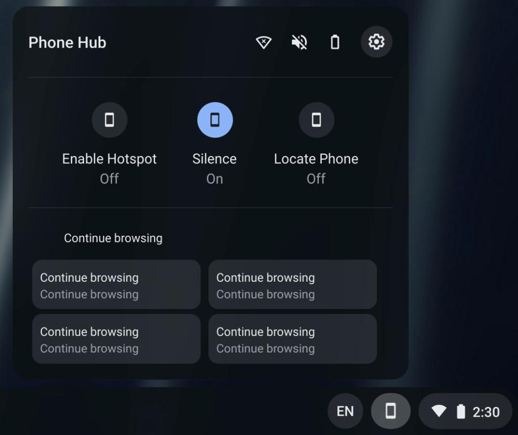 chrome os phone hub pin capture mode novità