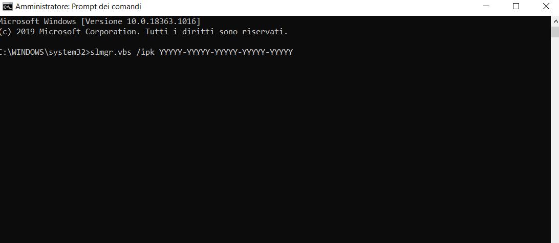errore 0xc004f074 prompt dei comandi