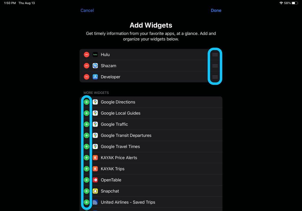 widget su ipadOS 14