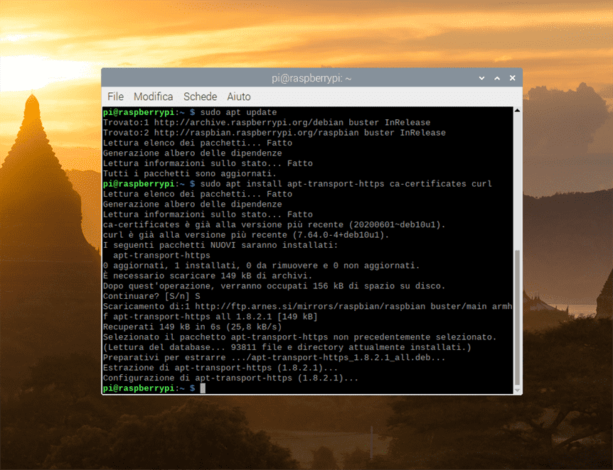 media center raspberry terminal sudo apt update