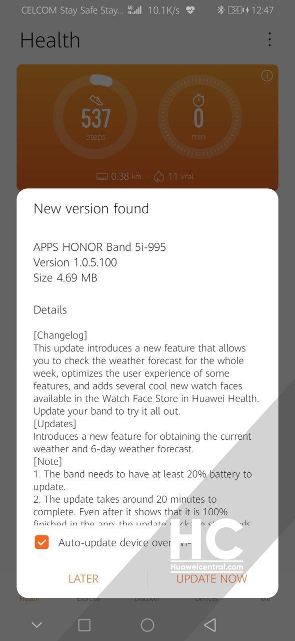 HONOR Band 5i si aggiorna e ottiene nuove interessanti funzionalità 1