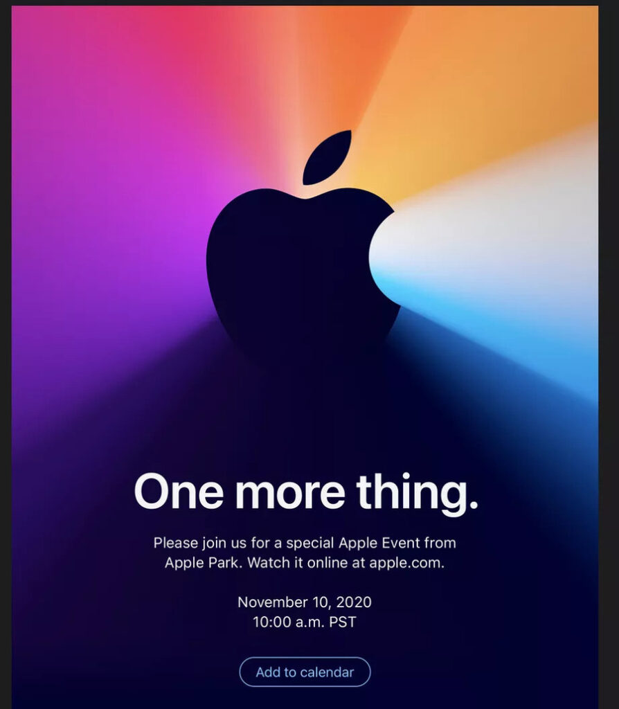 """Apple annuncia """"One More Thing"""", nuovo evento il 10 novembre: le novità più attese 1"""