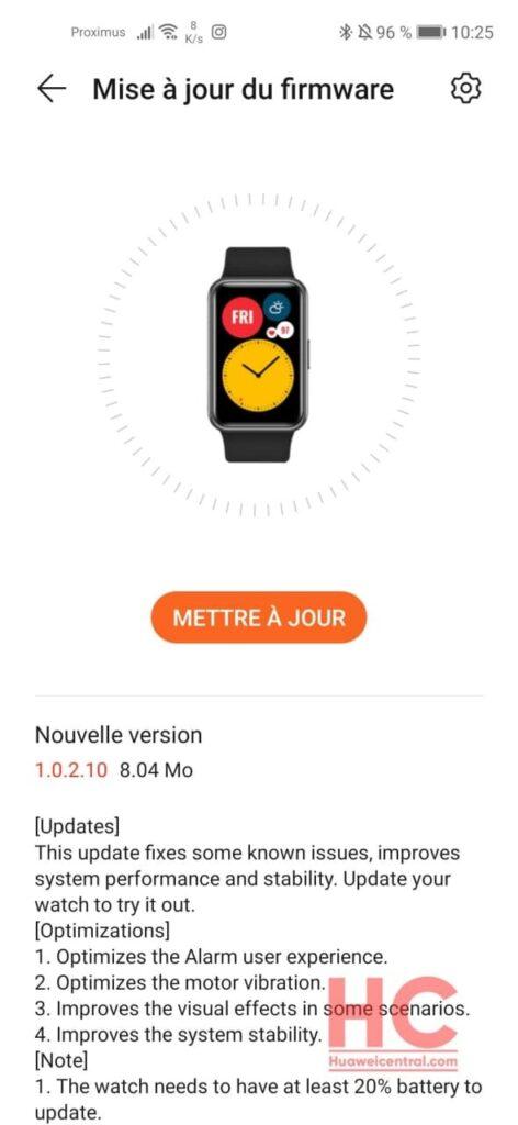 huawei watch fit 1.0.2.10 aggiornamento novità