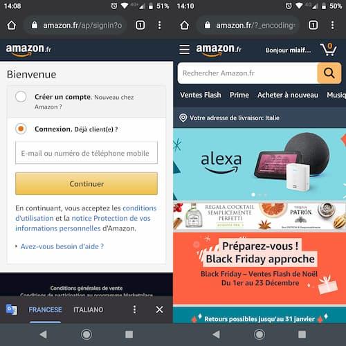 Login account Amazon EU