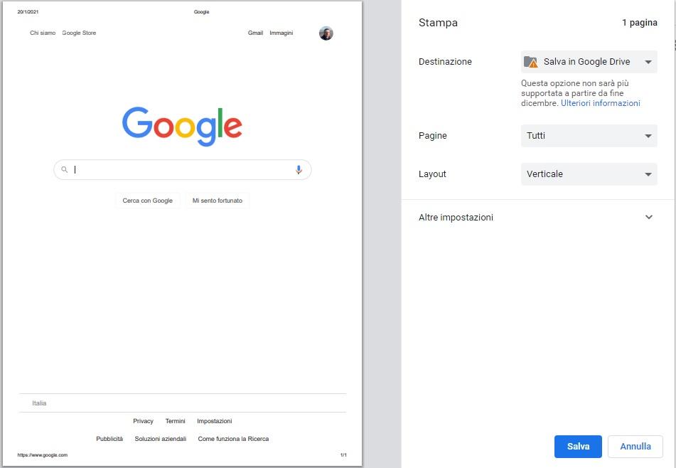 Google Chrome consente ancora di salvare PDF su Google Drive 1