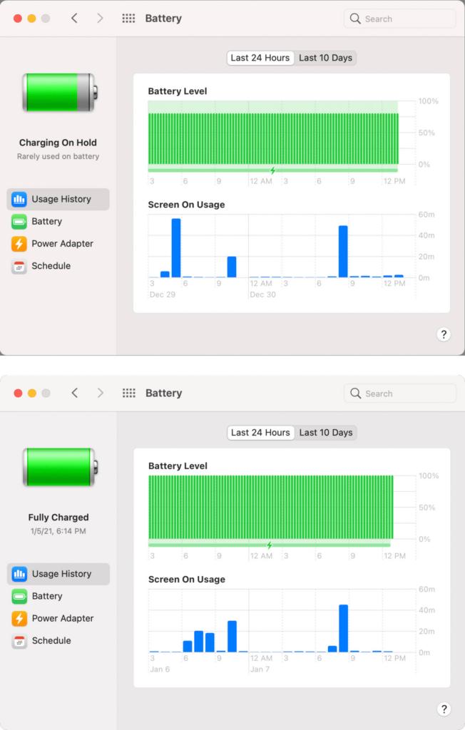 macos big sur ottimizzazione batteria personalizzazione