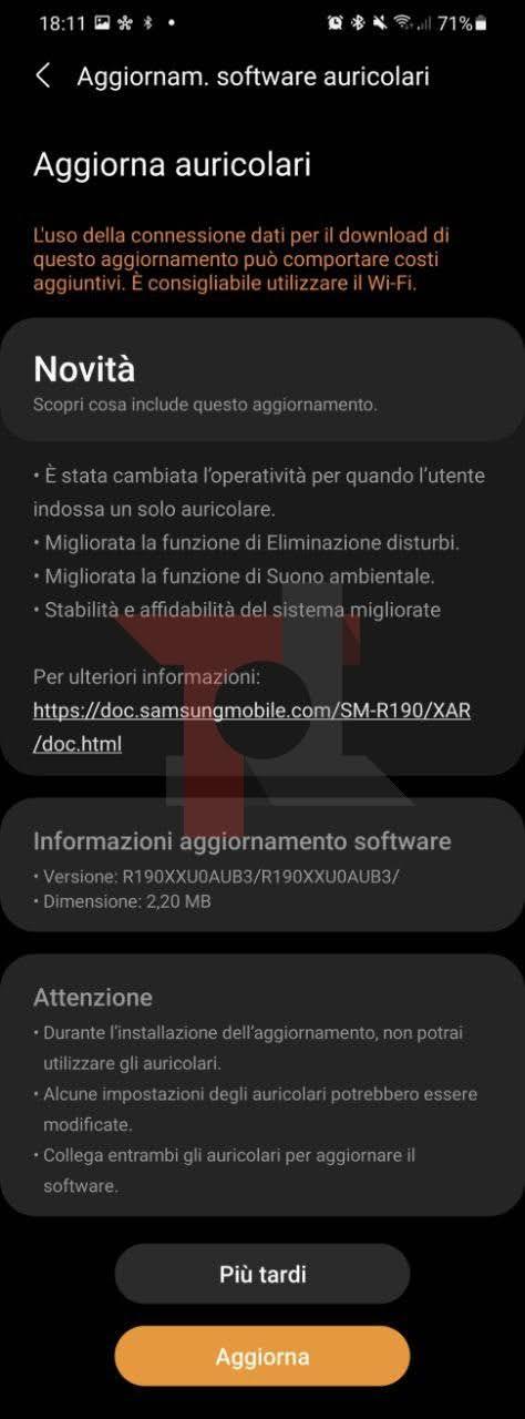 Samsung Galaxy Buds Pro aggiornamento