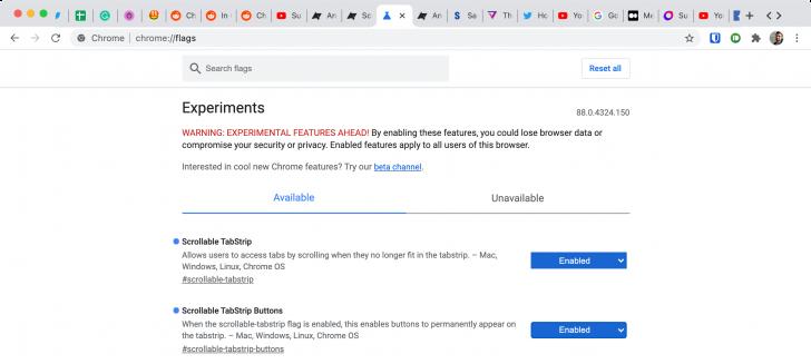 Google Chrome introduce la barra delle schede scorrevole 1