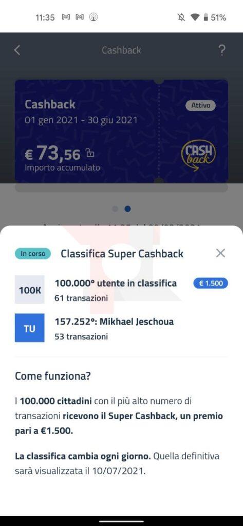 posizione classifica Super Cashback di Stato