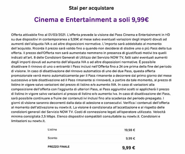 Now TV, Cinema e Entertainment a 9,99 euro