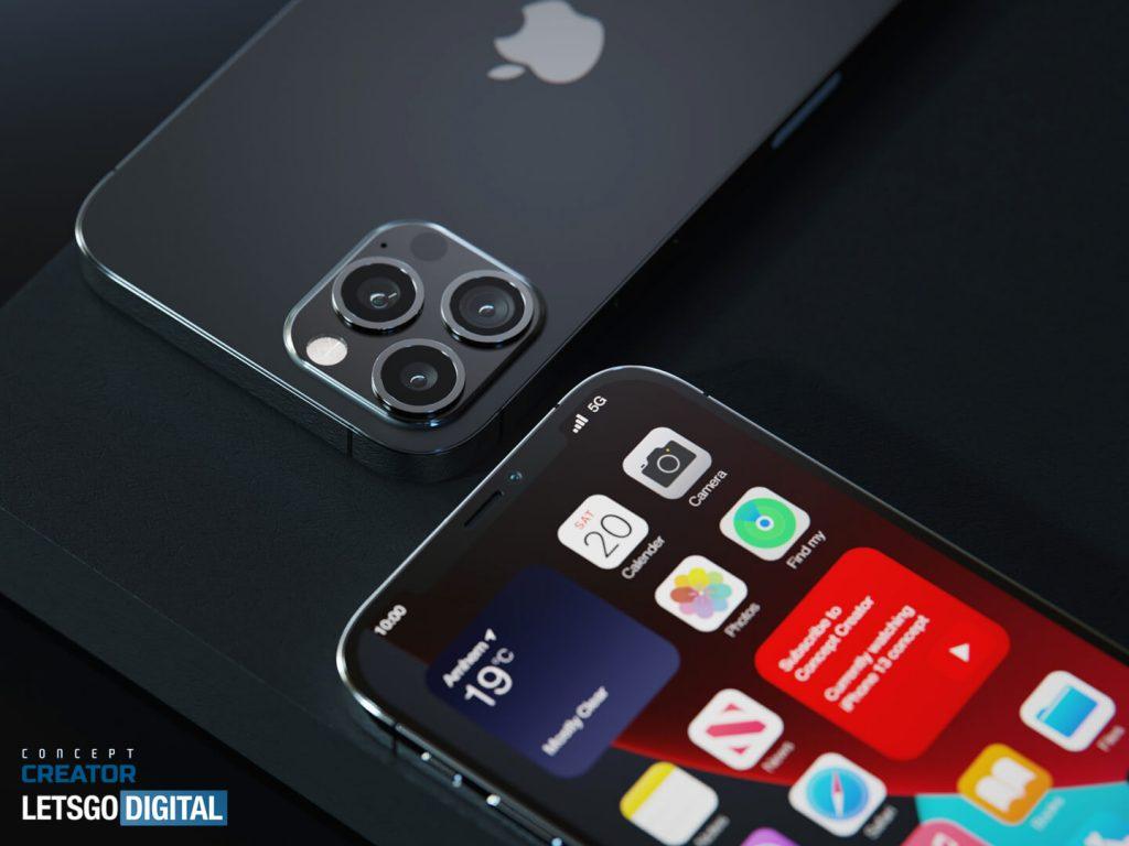 Apple iPhone 12s Pro in una serie di immagini render con Touch ID sotto allo schermo 1