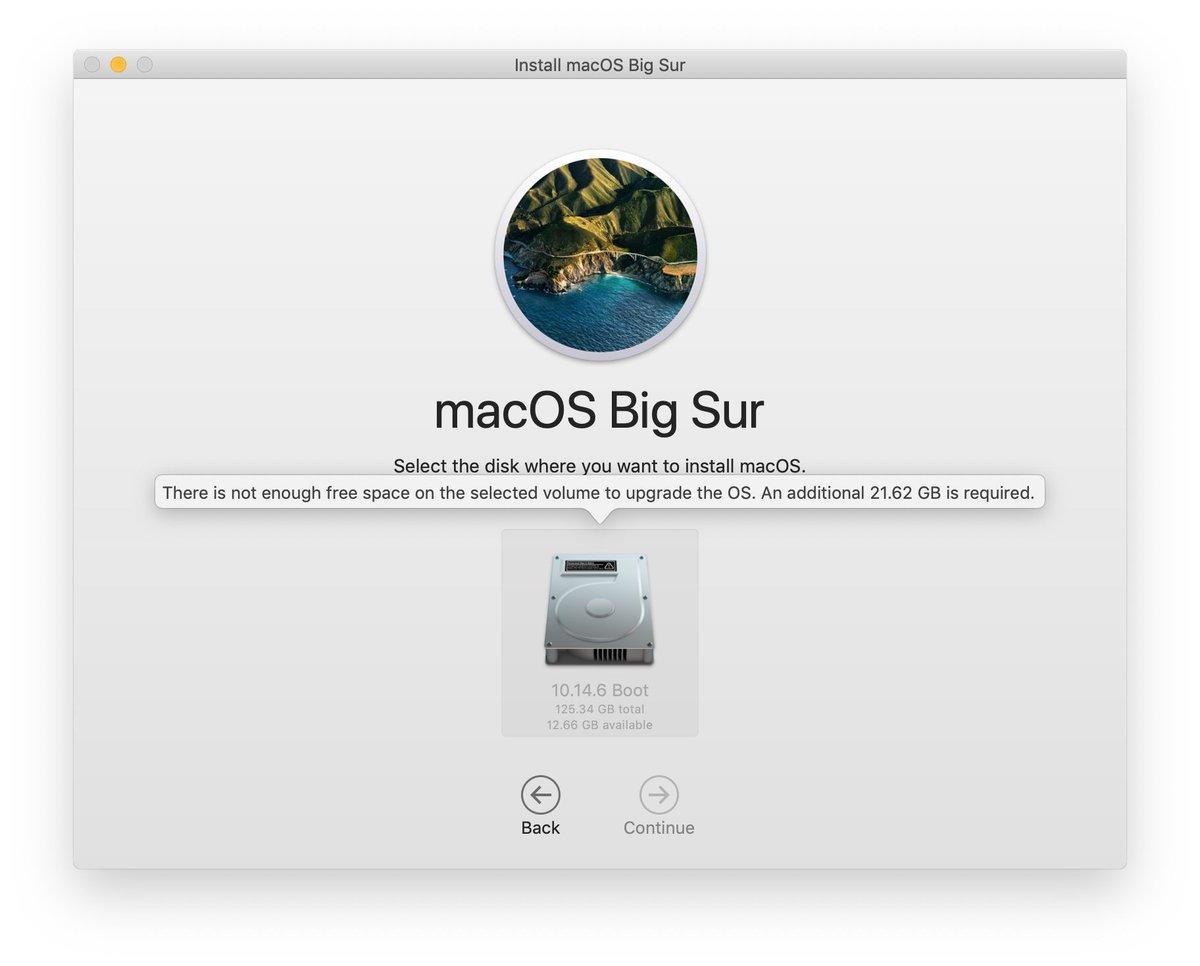 macOS Big Sur ora controlla se c'è spazio prima dell'installazione 1
