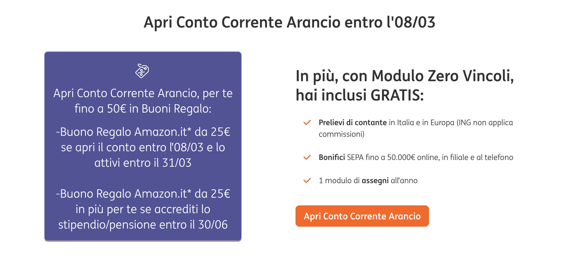 ING regala buoni Amazon fino a 50 euro aprendo gratis un Conto Corrente Arancio 1