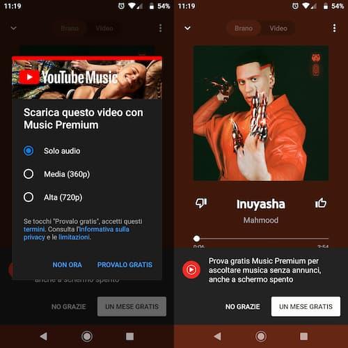 Scaricare musica gratis con YouTube Music Premium