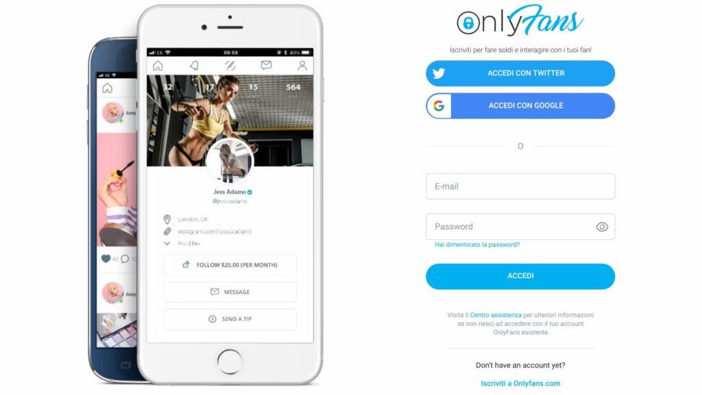 Registrazione a OnlyFans