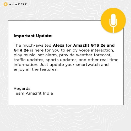 Amazfit GTR 2e e GTS 2e ricevono un aggiornamento tanto aspettato: arriva Alexa! 1