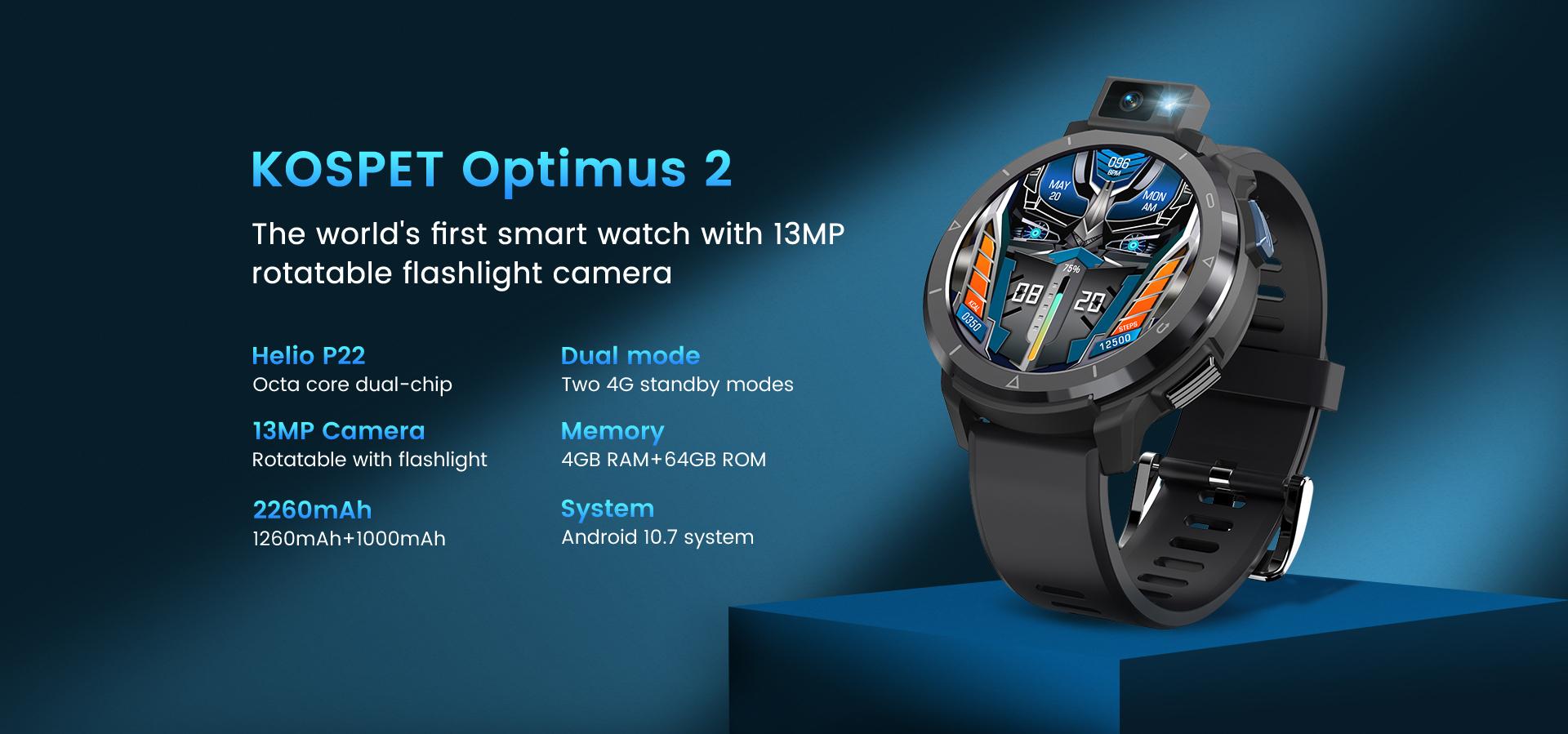 KOSPET OPTIMUS 2 è il nuovo smartwatch con fotocamera rotante 7