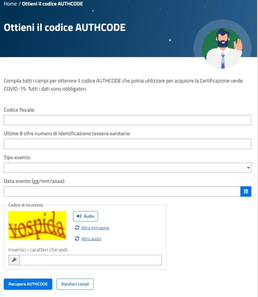 Green pass Cosa fare se non l'arriva l'sms con il codice recupero AUTHCODE