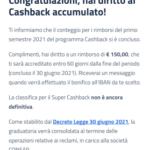 L'app IO notifica dell'arrivo del Cashback relativo al primo semestre 2021 1