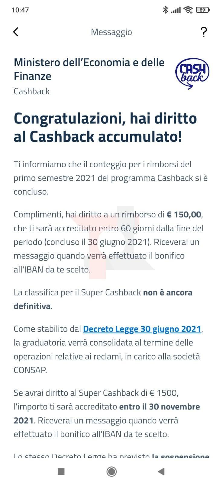 cashback di stato rimborsi