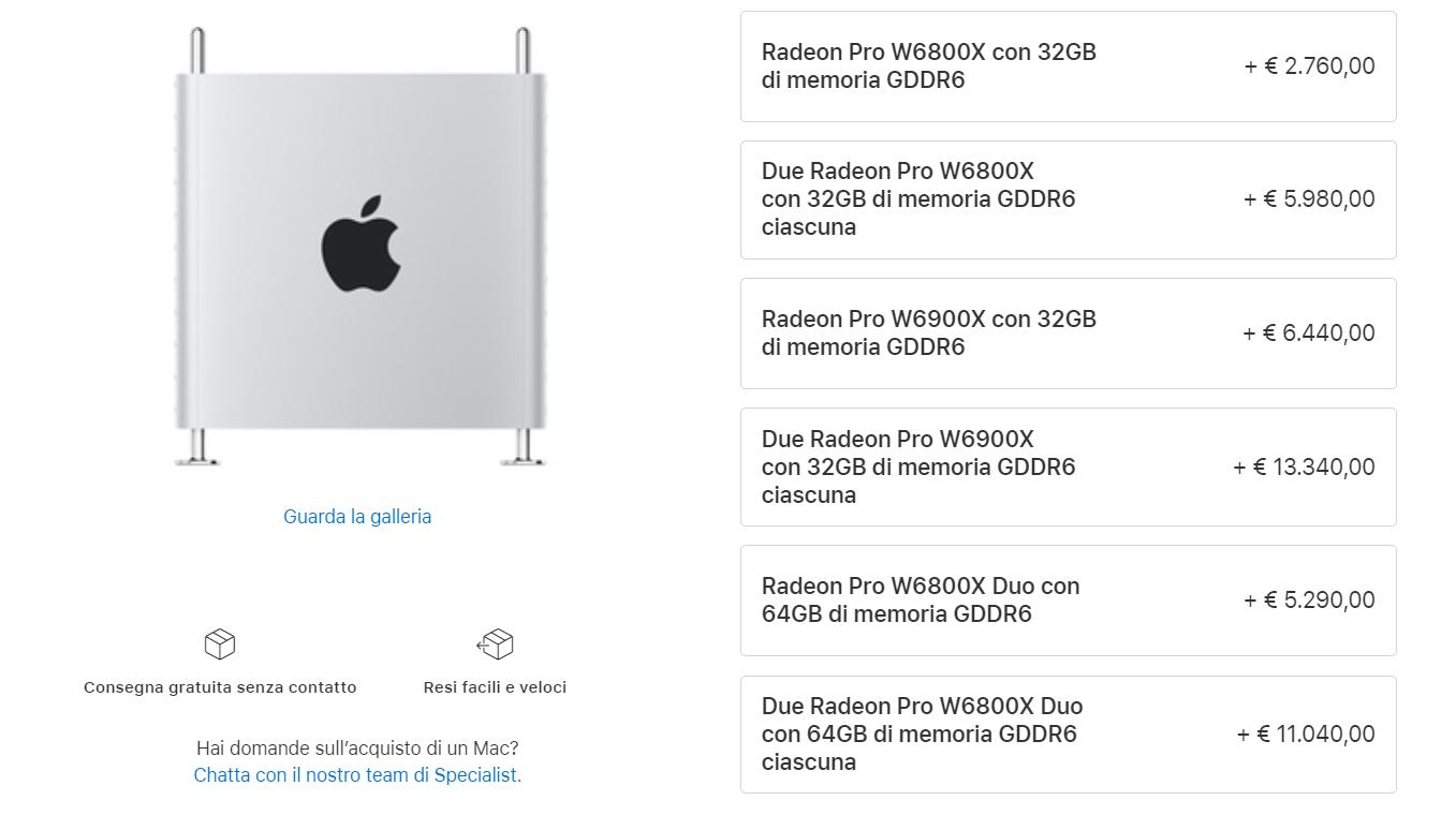 prezzi AMD Radeon PRO W6000X Mac Pro