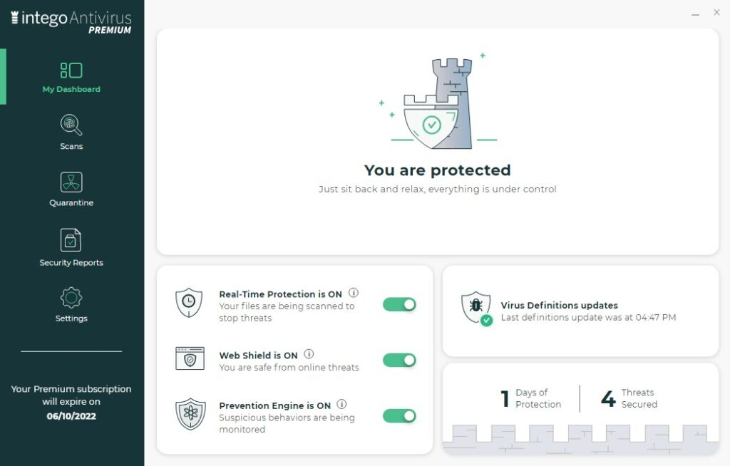 Intego antivirus per Windows interfaccia