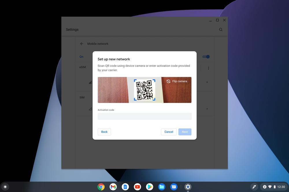 eSIM Chrome OS 92