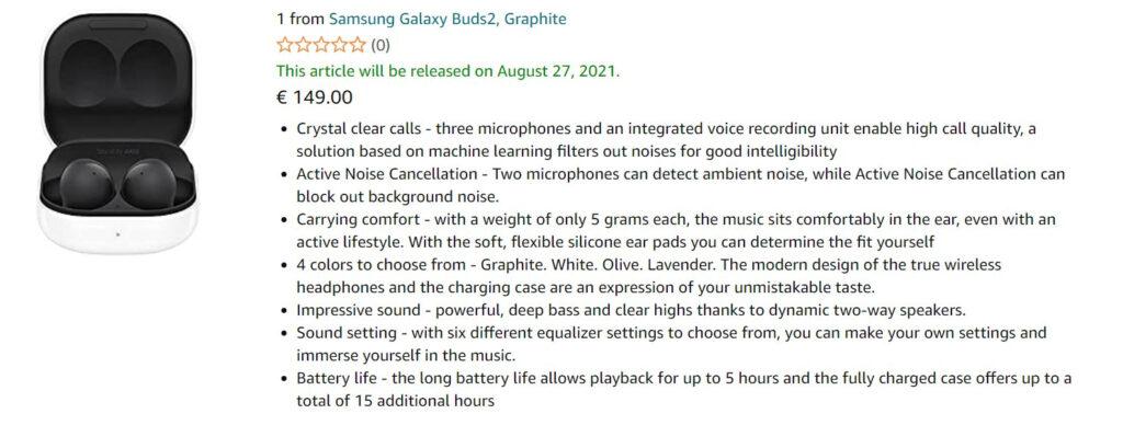 samsung galaxy buds 2 amazon leak