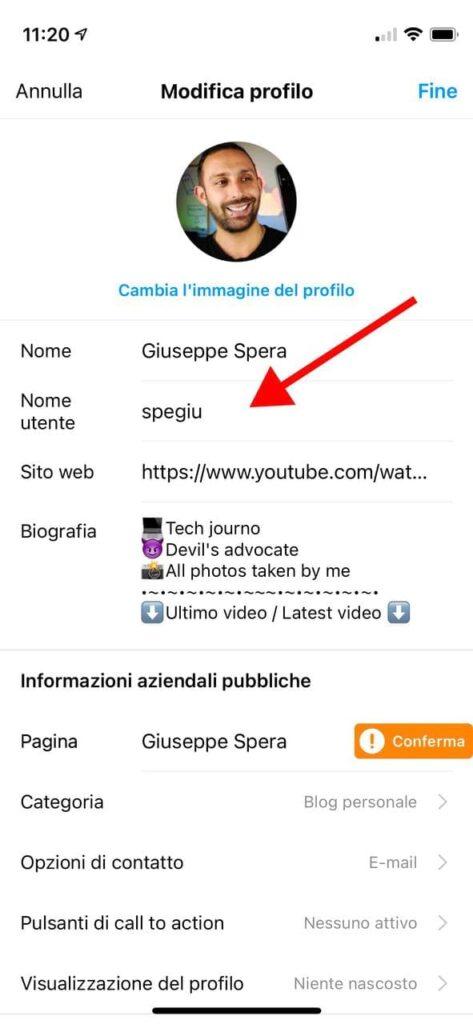 come cambiare nome su Instagram da smartphone