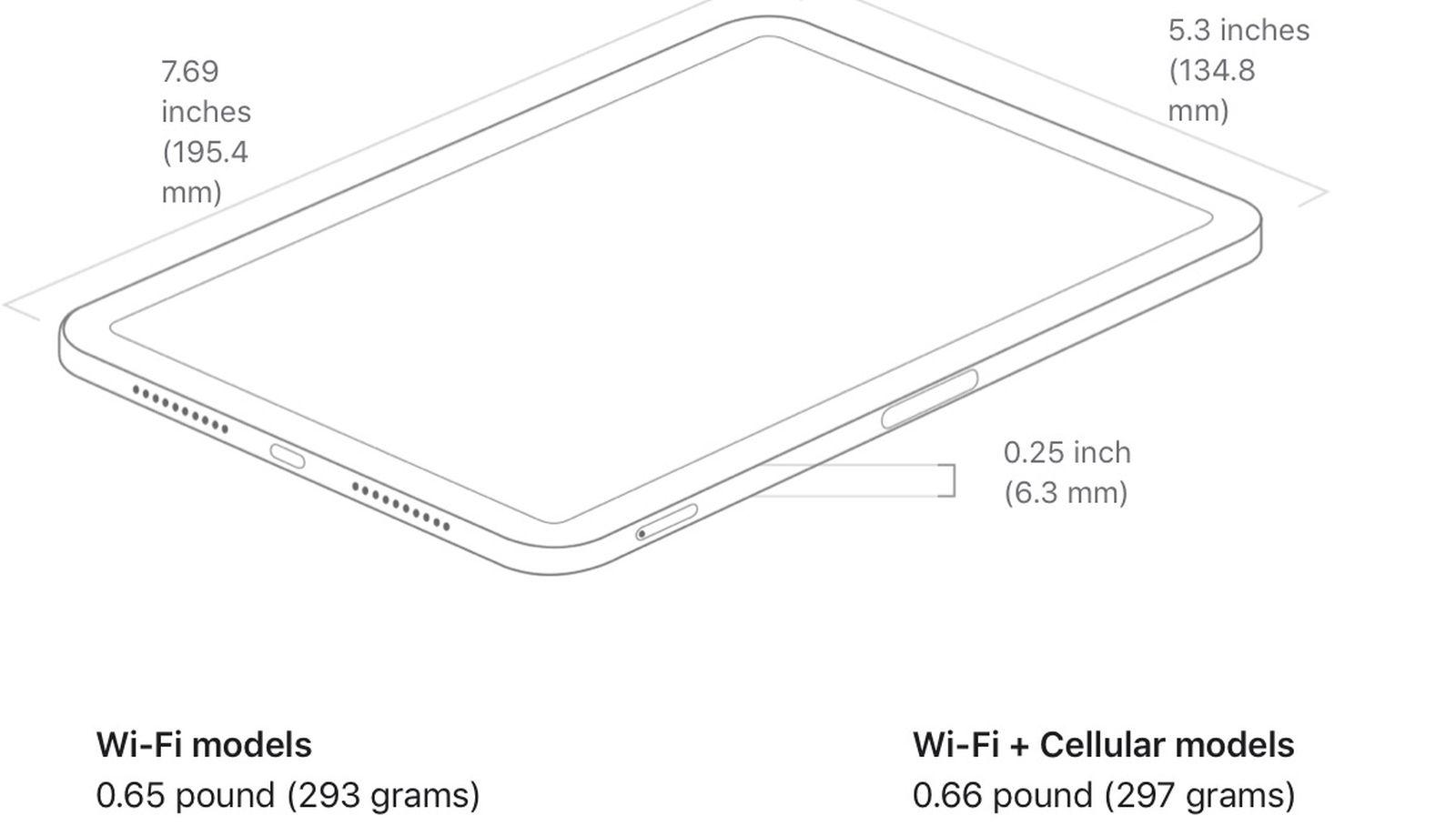 iPad mini 6 dimensioni